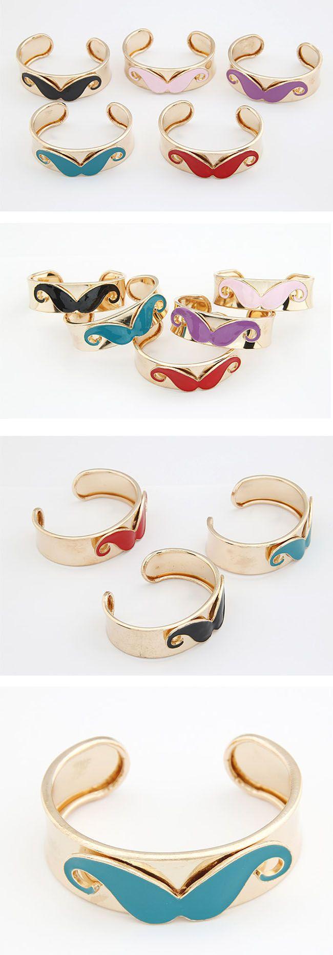 Hot Fashion Jewelry Black Mustache Gold Plated Leaf Bangle Bracelet