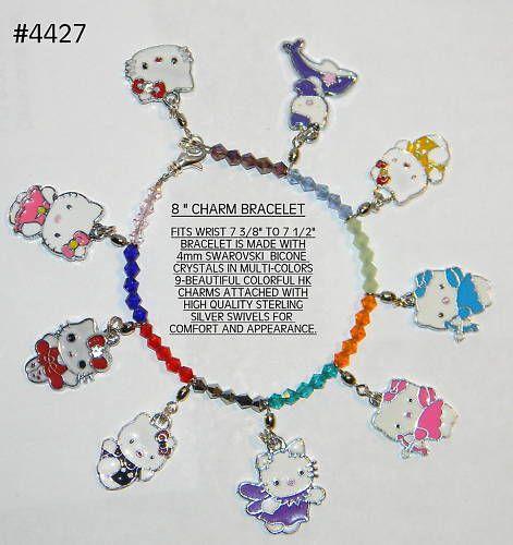 4427 Hello Kitty Charm Bracelet 8 w 9 HK Charms
