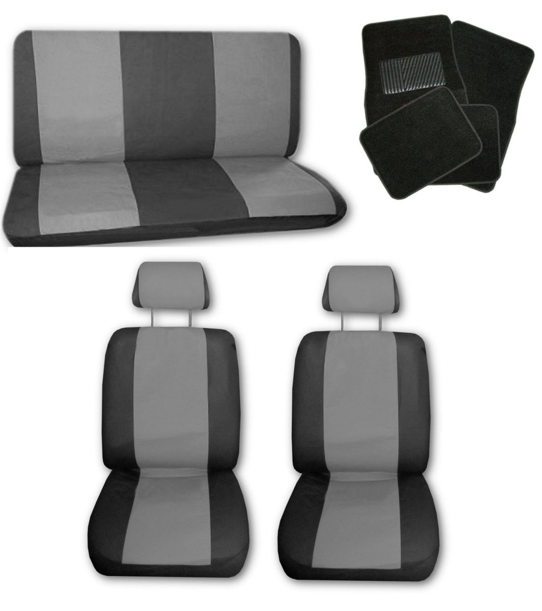 Lightweight Grey Black Synthetic Leather Car Seat Covers w Black Floor