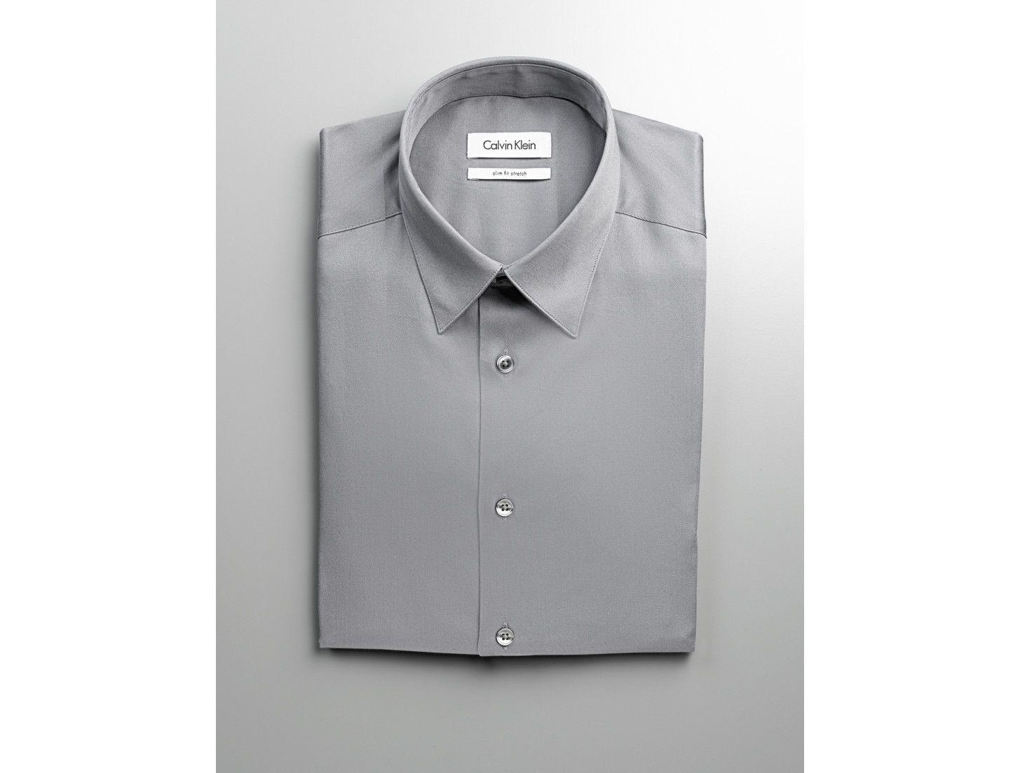 Calvin Klein Mens Slim Fit Stretch Solid Dress Shirt