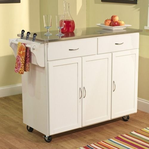 Extra Large Kitchen Cart White Stainless Steel Top 60049WHT Work Space