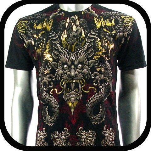 Artful Couture T Shirt Indie Tattoo Rock mma AB18 Sz XL Graffiti Biker