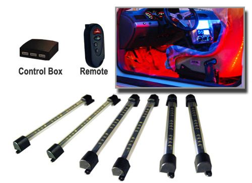 6pc Multi Color LED Interior Kit Foot Well Neon Lights