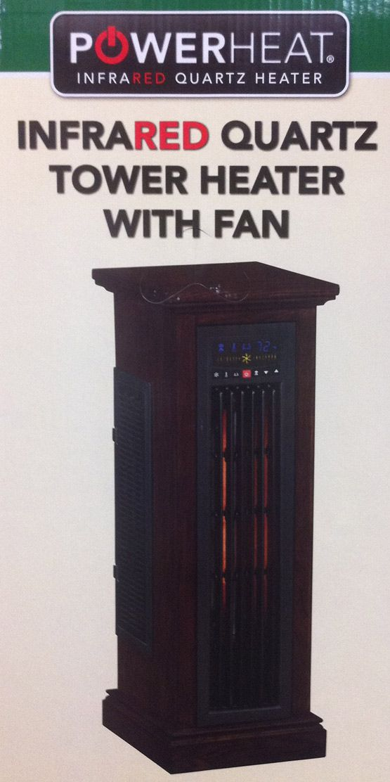 Heat 5200 BTUs TOWER Infrared Portable Space Electric Heater in Oak