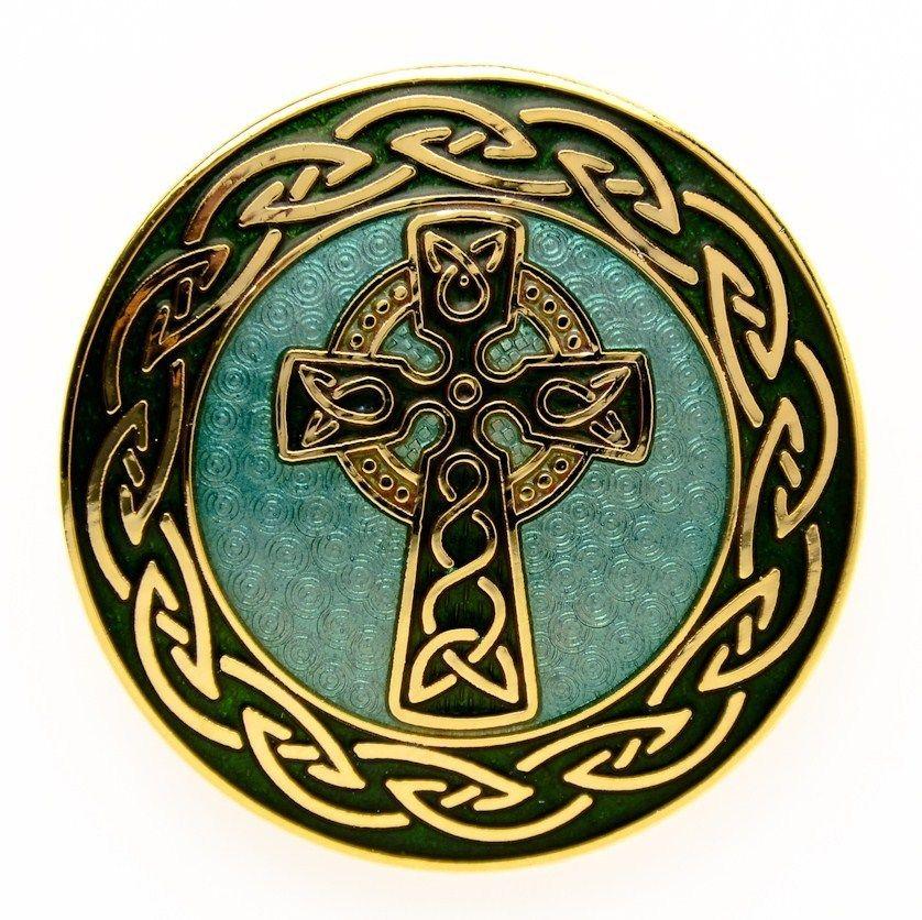 CROSS KNOT BROOCH PIN 22K GOLD PLATED WOMEN IRELAND FASHION JEWELRY