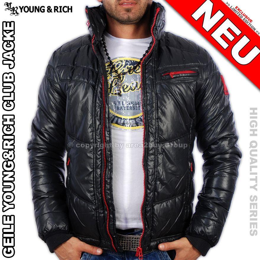 Geile Young Rich Kontrast Winterjacke Jacke Schwarz Rot yr