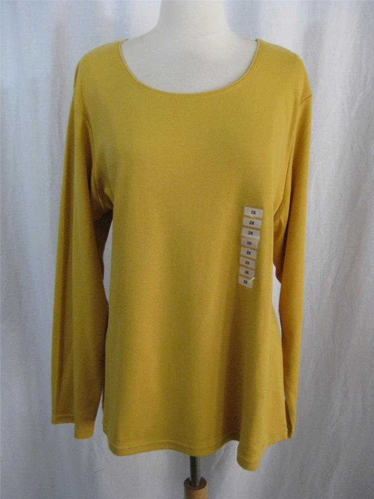 Karen Scott Woman Plus Size Long Sleeve Scoop Neck Tee Shirt Top