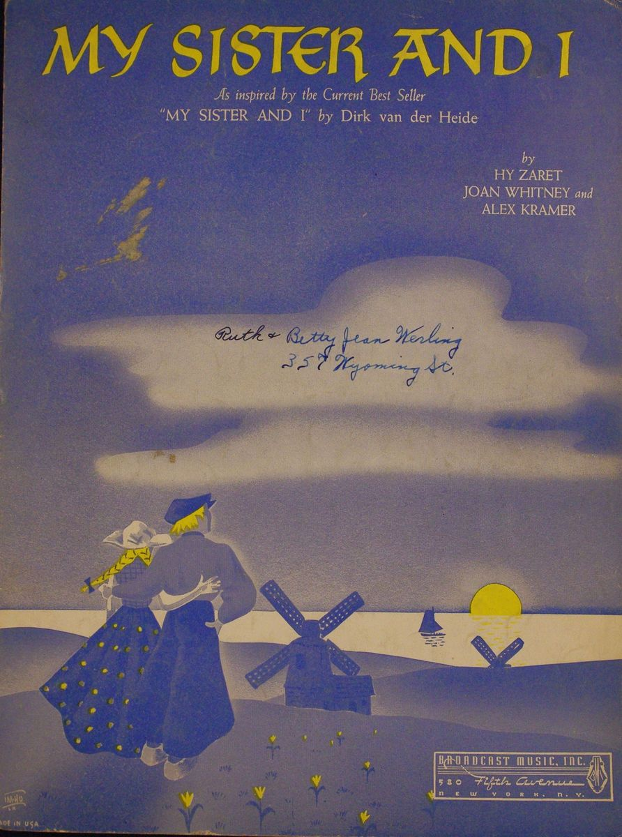 Vintage 1941 Sheet Music My Sister I Recorded by Jimmy Dorsey
