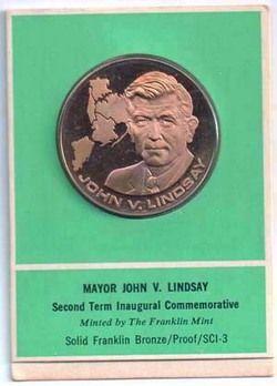 UNC NEW YORK MAYOR JOHN LINDSAY PROOF FRANKLIN MINT MEDAL L K