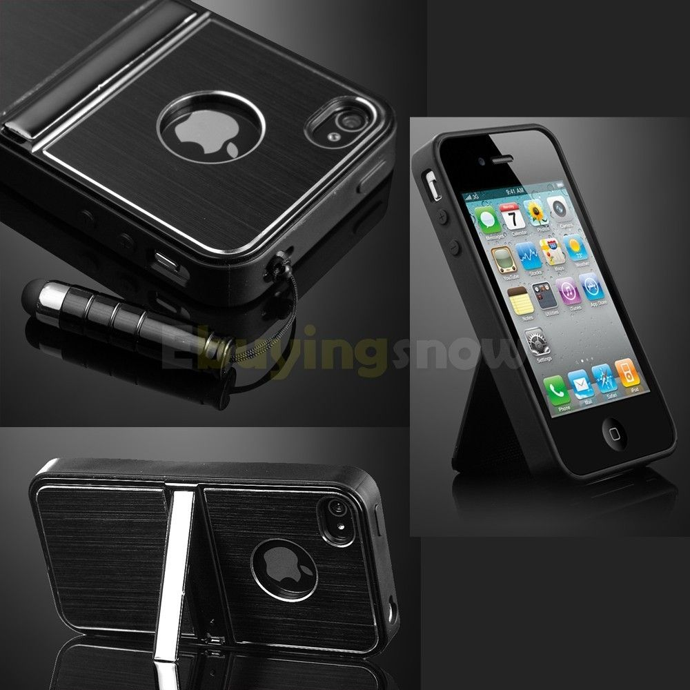 Black Aluminum TPU Hard Case Cover W Chrome Stand For iPhone 4 4G 4S