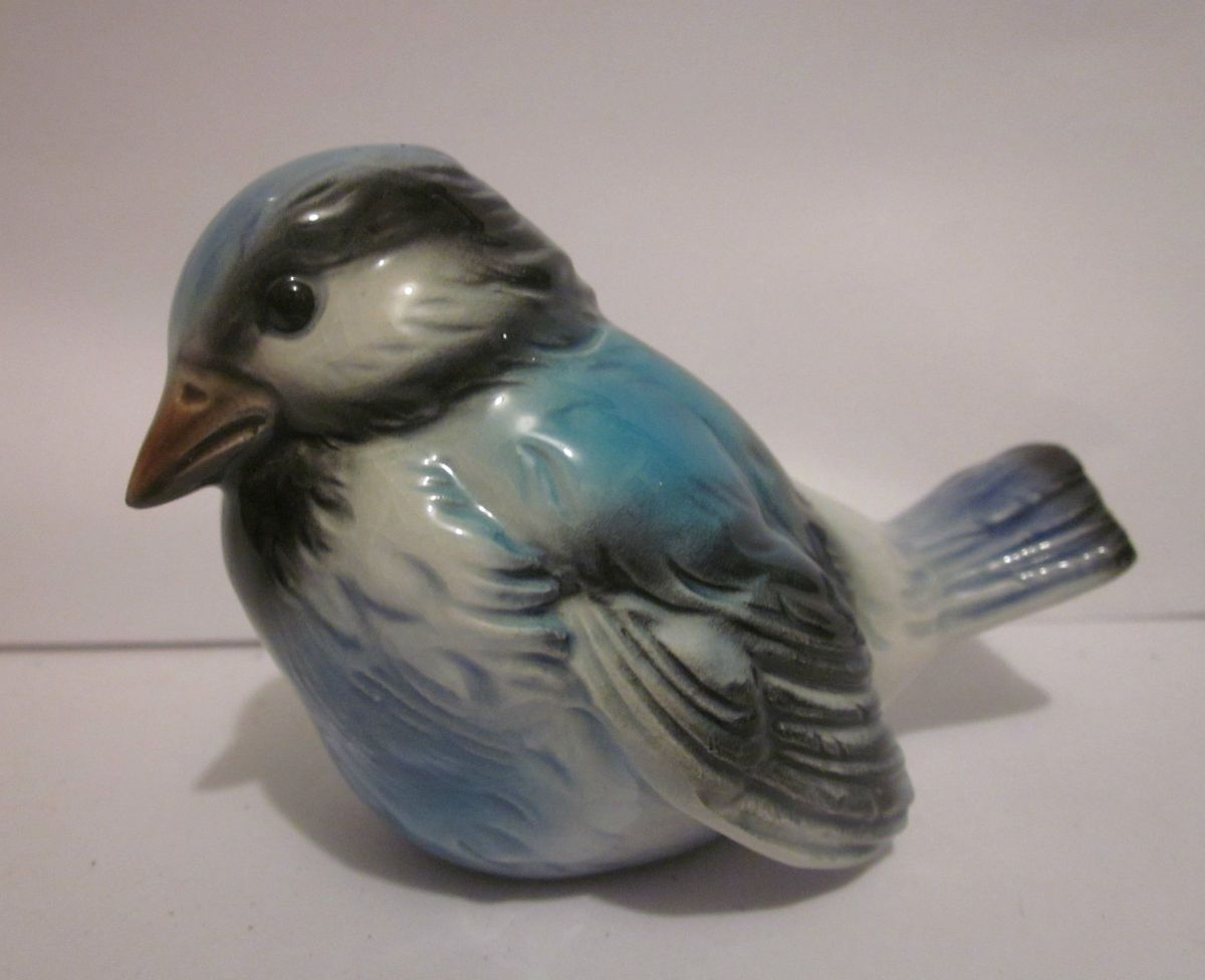 Blue Jay Bird Porcelain Figurine Goebel Germany GV74 marked bottom Fat