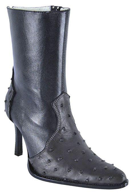 Ostrich Los Altos Black Leather Dress Womens Cowboy Boots Western