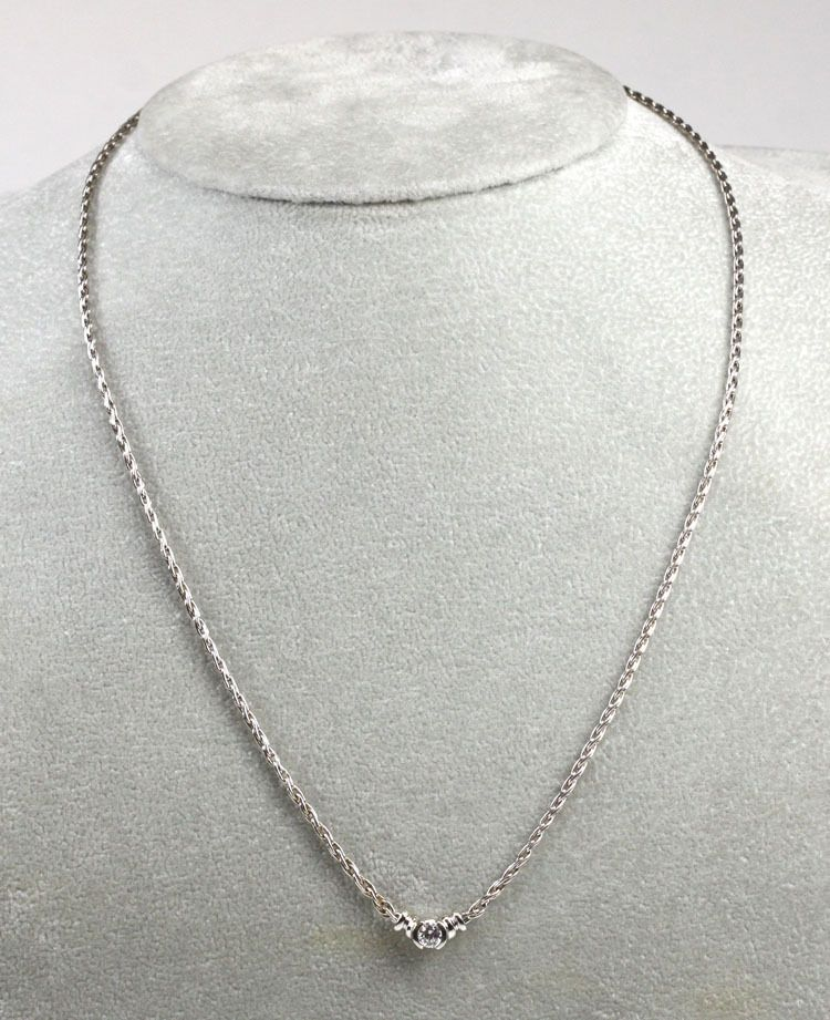 20 Carat 14k White Gold Solitaire Diamond Pendant Necklace