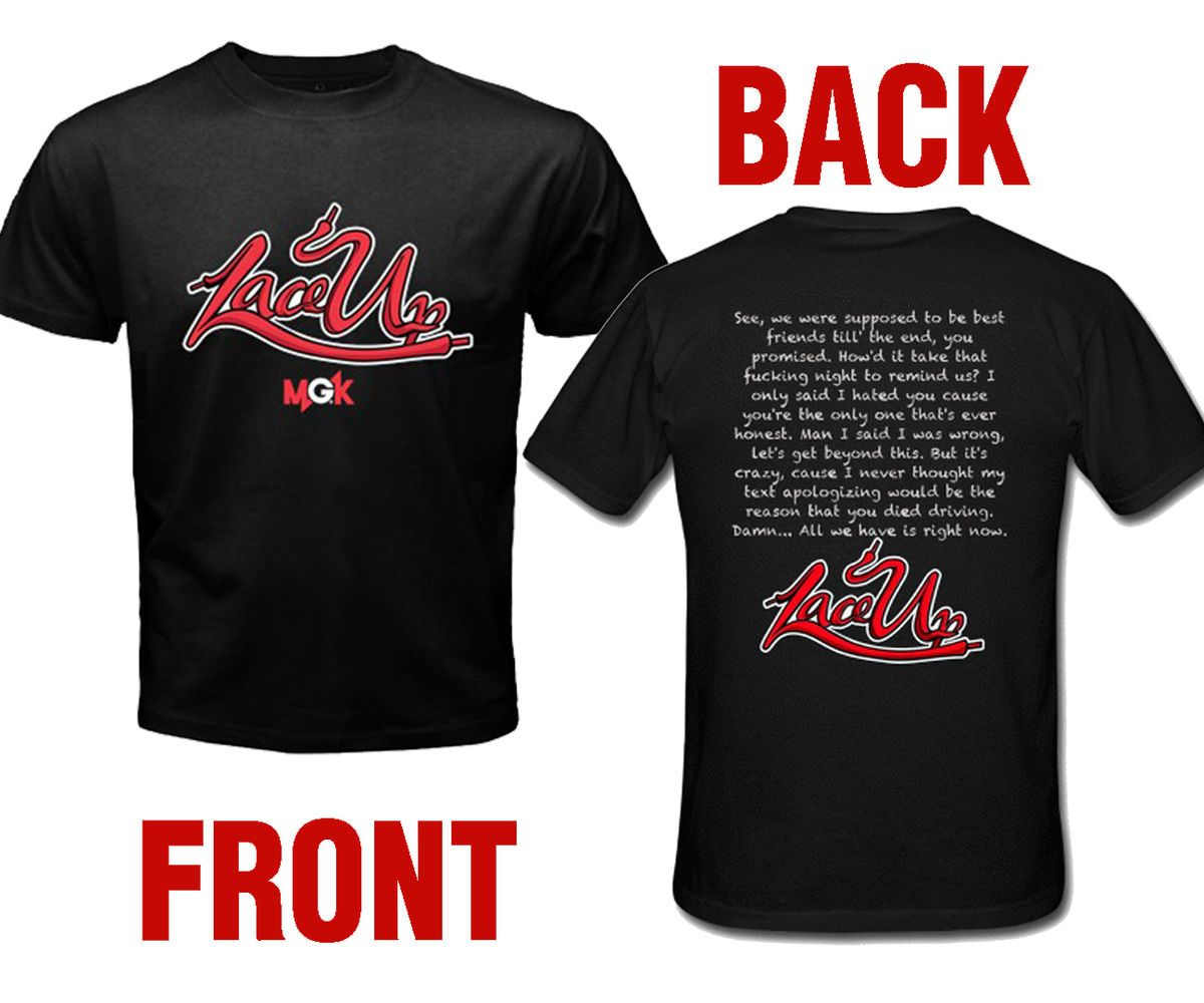 Lace Up MGK Machine Gun Kelly Rap Hip Hop 2 Side T shirt Size S M L XL