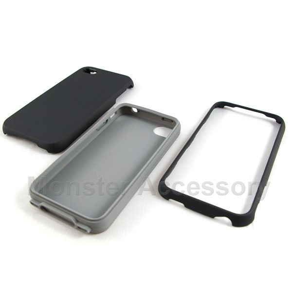 Luxmo Double Layered Black Hard Case Cover iPhone 4 New