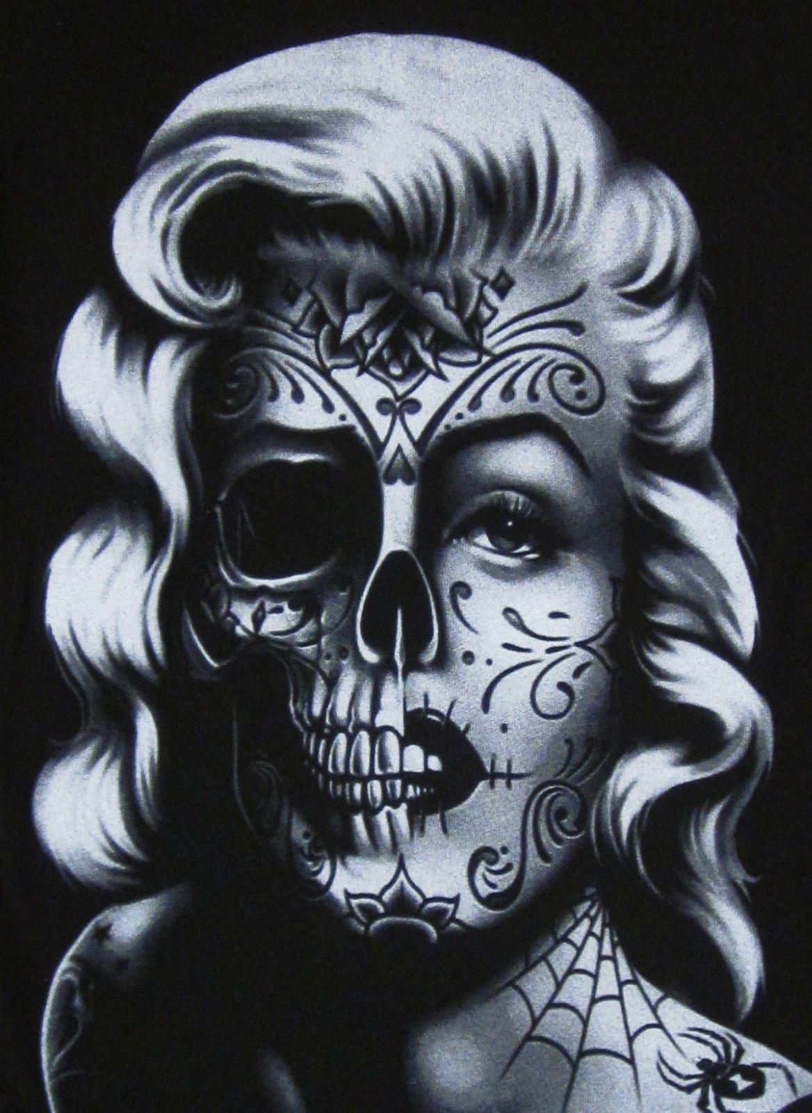 Women Marilyn Monroe Skull Zombie Face Body Skeleton Tattoo Adult T