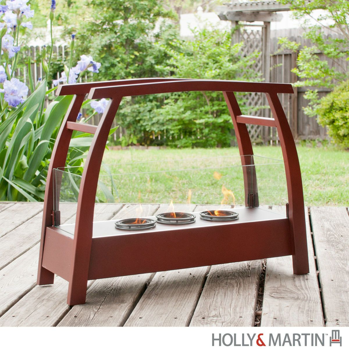 Indoor Outdoor Gel Fireplace Heater Portable Metal Glass HOLLY MARTIN