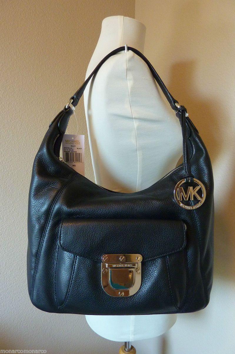 Michael Kors Black Leather Riley Shoulder Bag Hobo $378