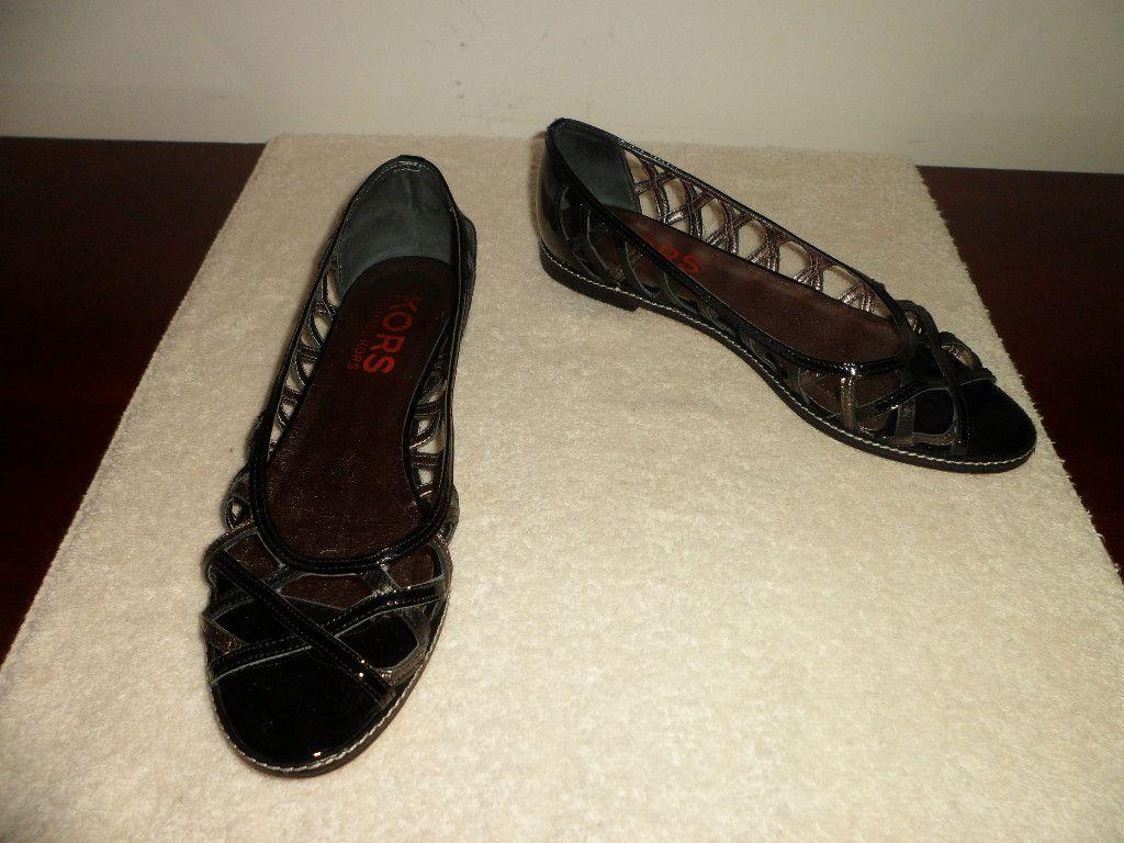 Kors Michael Kors Black Patent Leather Strappy Sandal Size 8 5 M