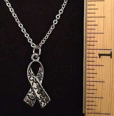 Silver Tone Autism Awareness Puzzle Piece Ribbon W/chain NEW FREE