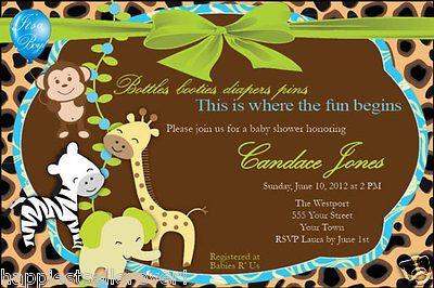 20 Invitations Leopard Jungle Monkey animal BABY SHOWER BIRTHDAY