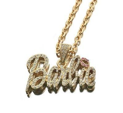 NEW Nicki Minaj Inspired Iced Out  BARBIE  Pendant Necklace Gold w