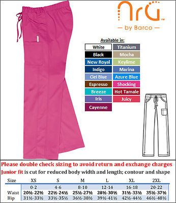 NWt Barco Uniforms NRG 3207 Stretch 4 Pocket Cargo Scrub Pants XS 3XL