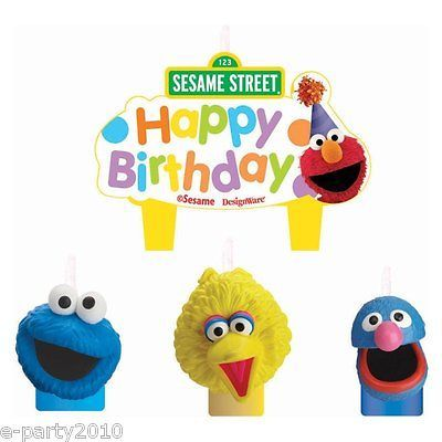 STREET CAKE CANDLE SET Elmo Cookie Monster Birthday Party Supplies