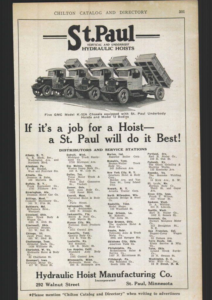 1926 ad St Paul Hydraulic Hoists Dump Truck Body Bodies
