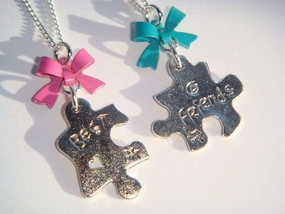Pair of Split Broken Puzzle Piece Best Friends Bow Necklaces Gift