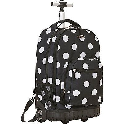 Rockland Luggage Sedan 19 Rolling Backpack   Black Dot