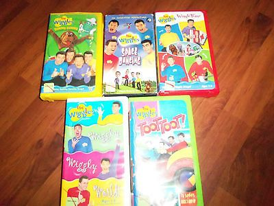 LOT OF 5 THE WIGGLES VHS MOVIES TOOT TOOT WIGGLE TIME WIGGLY