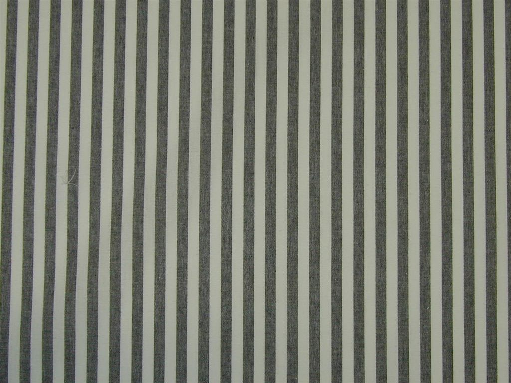 Lightweight Curtain Fabric French Stripe Black White Cotton By The