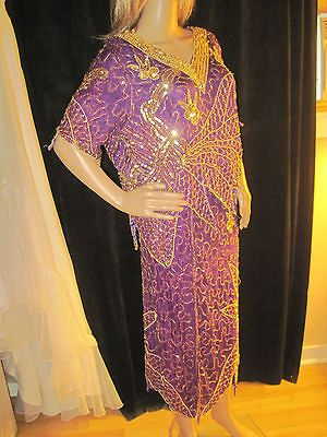Vintage 1980s Purple Silk Gold Sequins Skirt & Blouse by Channa Size