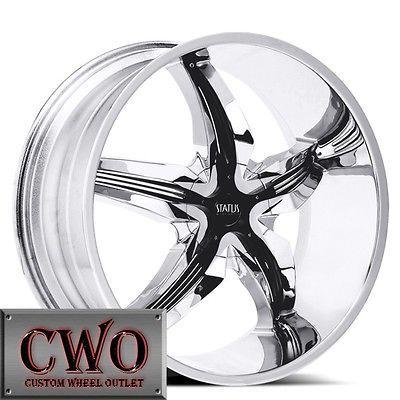 22 Chrome Status Dystany Wheels Rims 5x114.3/5x4.75 5 Lug Maxima