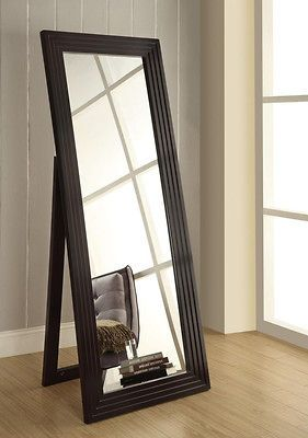 Cappuccino Stacked Contemporary Full Length Floor Mirror
