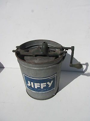 Antique Primitive Jiffy Hand Crank Ice Cream Maker