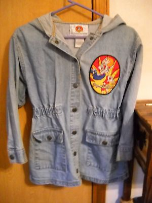 Disney Tweety Bird Hoodie Denim Shirred Jacket
