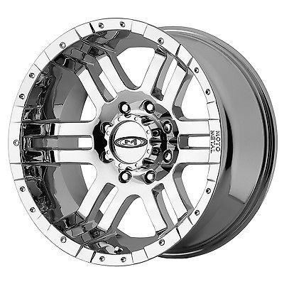 SET 17x9 MOTO METAL 951 CHROME Wheels Rims 8x6.5 Chevy Dodge GMC 2500