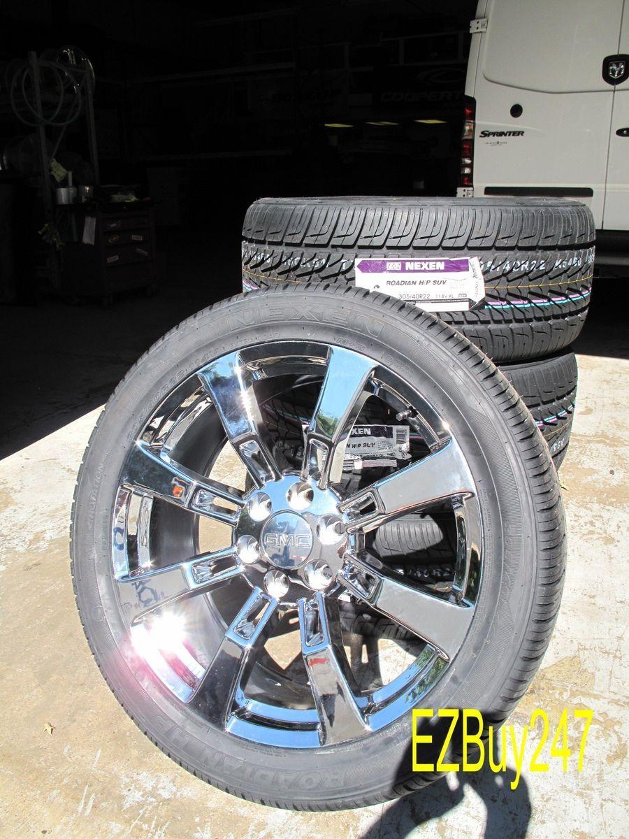 Escalade Factory Chrome Wheels 5409 Tires 305 40 22 Nexen New