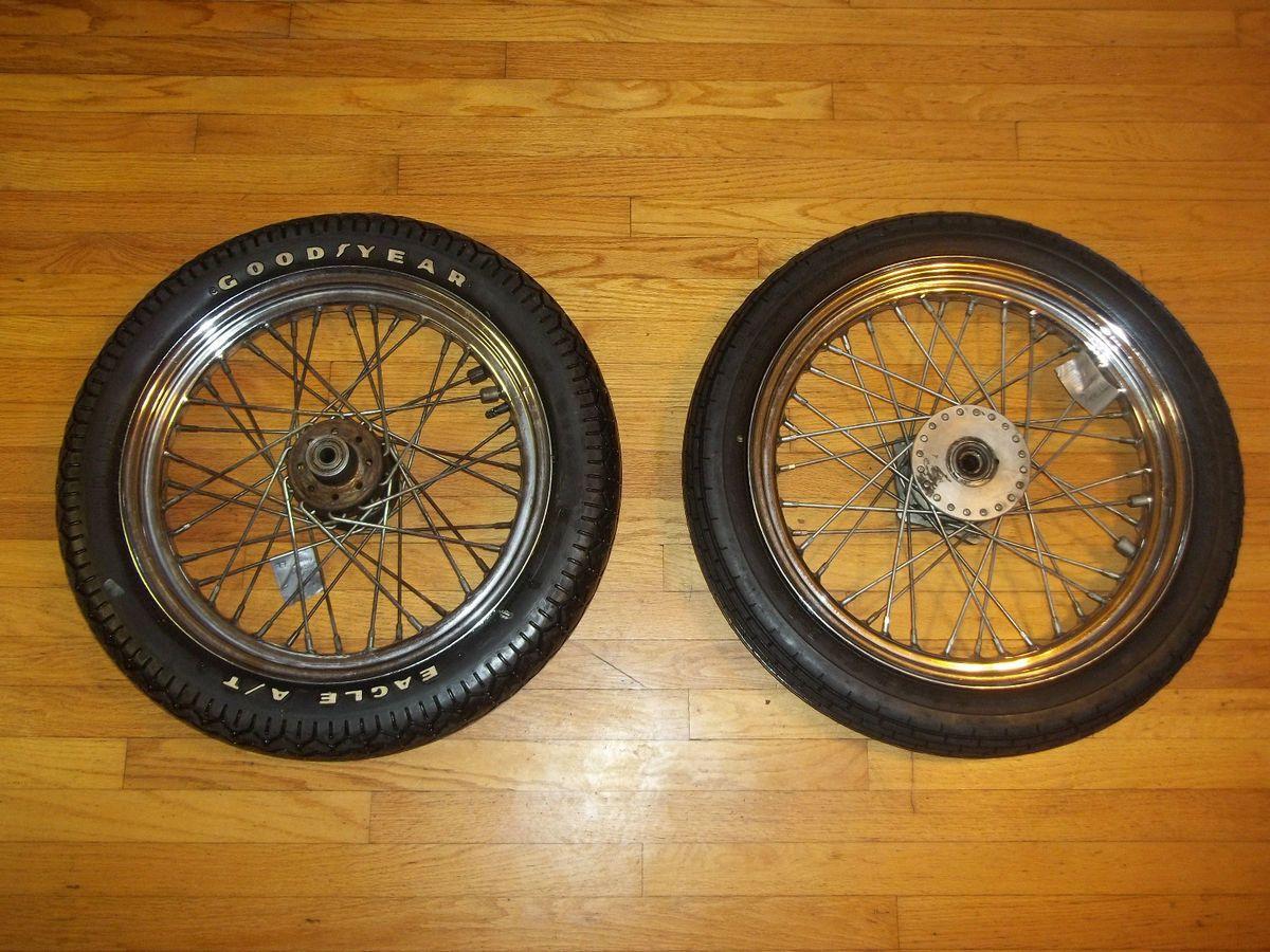 Vint 1977 Harley Davidson Sportster Wheels Tires Chrome Spoke Goodyear