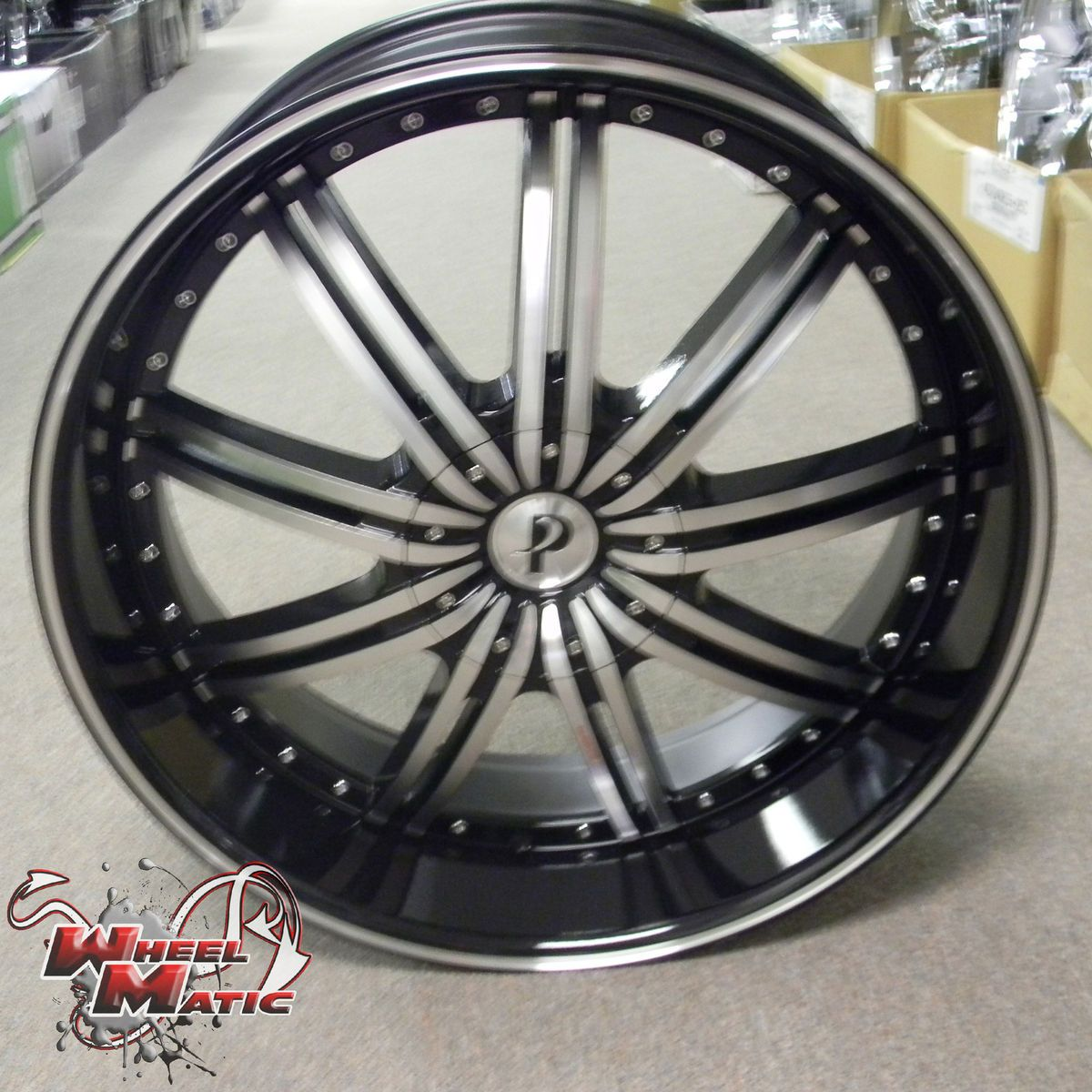 New Phino PW118 24 5x115 120 Black Machine Wheels Rims Well Beat Any