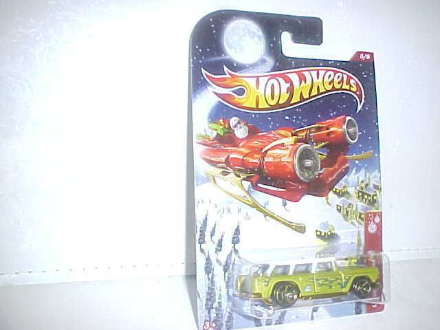 Hot Wheels Holiday Rods Classic Chevy Nomad 5 8 Green Flames 2012