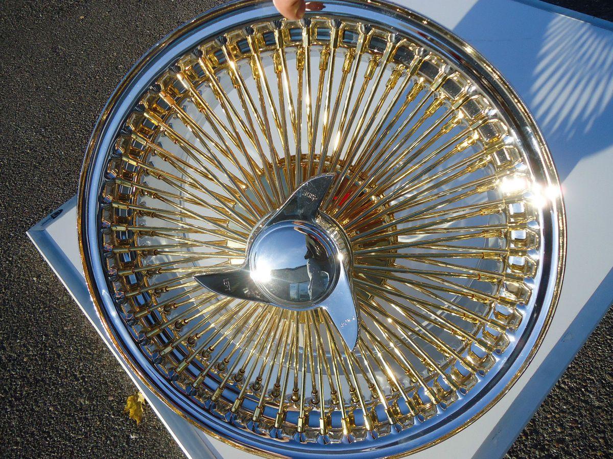 Gold Chrome Wire Wheels Knockoffs Rims Full Set Luxor Zenith OG