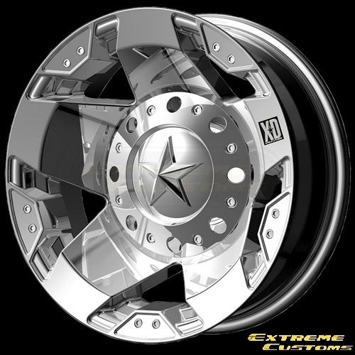 Series XD775 Rockstar Dually Chrome 8 Lug Wheels Rims Free Lugs